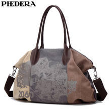 PHEDERA Leaves Print Women Shoulder Bags Street Style Canvas Female Handbag Casual Purse Bag 2019 Spring New
