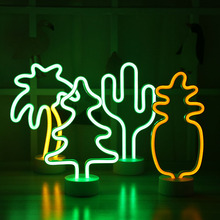 LED Neon Night Light Pineapple Cactus Shape with Base Battery Powered Table Lamp Random Lights for kids room holiday