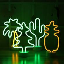LED Neon gece lambası ananas kaktüs şekli tabanı ile akülü masa lambası rastgele çocuklar için ışıkları odası tatil