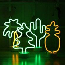 LED ضوء الليل النيون الأناناس الصبار شكل مع قاعدة بطارية تعمل بالطاقة الجدول مصباح أضواء عشوائية للأطفال غرفة عطلة