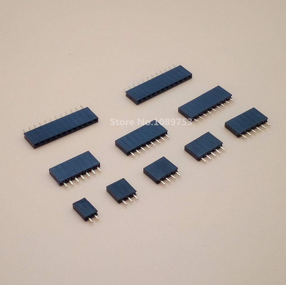 100Pcs/lot 2.54mm Pitch 2/3/4/5/6/7/8/9/10/12/20/40 Pin Female Single Row Straight Header Strip Connector For PCB