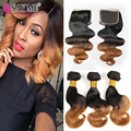 8A Peruvian Virgin Hair With Closure 3 Bundles Peruvian Body Wave With Closure 1B/27 30# Two Tone Ombre Human Hair With Closure