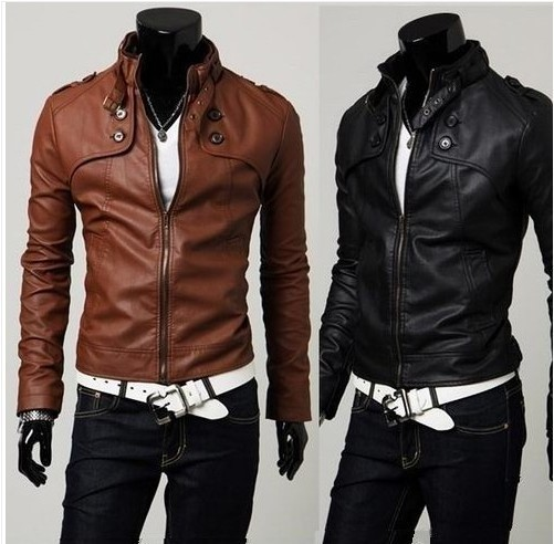 NWT Men's Slim Top Designed Sexy PU Leather Short Jacket E400 2color 4 size