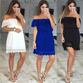 2016 Autumn New sexy strapless lace stitching waist dress women solid dress off the shoulder 3 colors 4 size