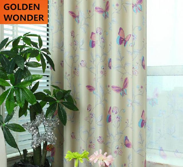 New Design Butterfly Curtains For Living Room High Quality Fabric Curtains  For Bedroom Window Finished Custom