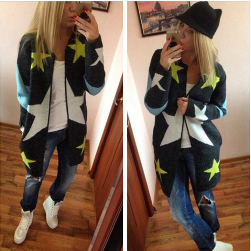 Danjeaner Autumn Winter Women Long Sleeve Stars Printed Long Cardigan Europen Style Elegant Pocket Knitted Outerwear Sweater Cap