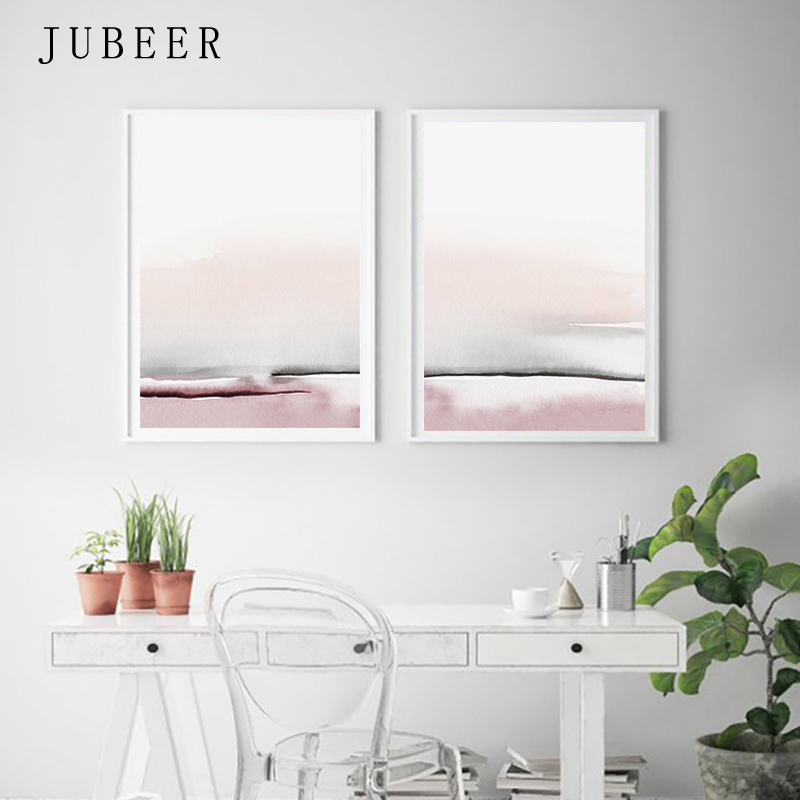 Us 5 29 47 Off Abstract Canvas Painting Pink And Gray Bedroom Wall Art Paintings For Living Room Wall Tableau Decoration Scandinavian Style In