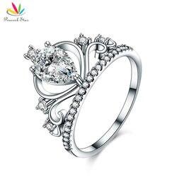 Павлин звезда Твердые стерлингового серебра 925 Корона кольцо 1 корзину груша для леди Мода стильные украшения cfr8278