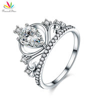 Peacock Star Solid 925 Sterling Silver Crown Ring Pear Cut For Lady Trendy Stylish Jewelry CFR8278
