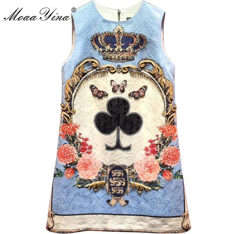 MoaaYina 2018 Fashion Designer Runway Dress Summer Women sleeveless Floral Print Jacquard Beaded Crystal Casual Vintage