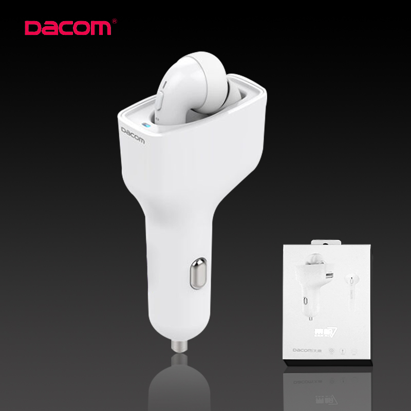 DACOM Car Bluetooth Headset Stereo Mini Wireless Earphones Handsfree Earbuds Auriculares Bluetooth 4.2 TWS,GF7 Carkit carkit mini wireless bluetooth 2 in 1 in ear earphones car phone charger usb dock stereo headphones for dacom iphone 7 airpods