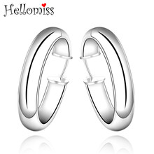 Silver Hoop Earrings for Women Smooth Big Circle Round Earring Ear Cuff Fashion 925 Jewelry Brinco Feminino Hellomiss