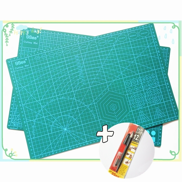PVC Cutting Mat 9 Sea a3 45*30cm & Graver Utility Knife With 12Pcs Spare Blade Durable Self Healing Handmade Quilting Patchwork