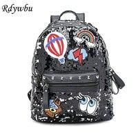 Rdywbu Glitter Sequins Đinh Tán Backpack Cô Gái Thời Trang Travel Rucksack Sinh Viên Đôi Mắt Dễ Thương Cầu Vồng Patched Trường Bag Mochilas B484