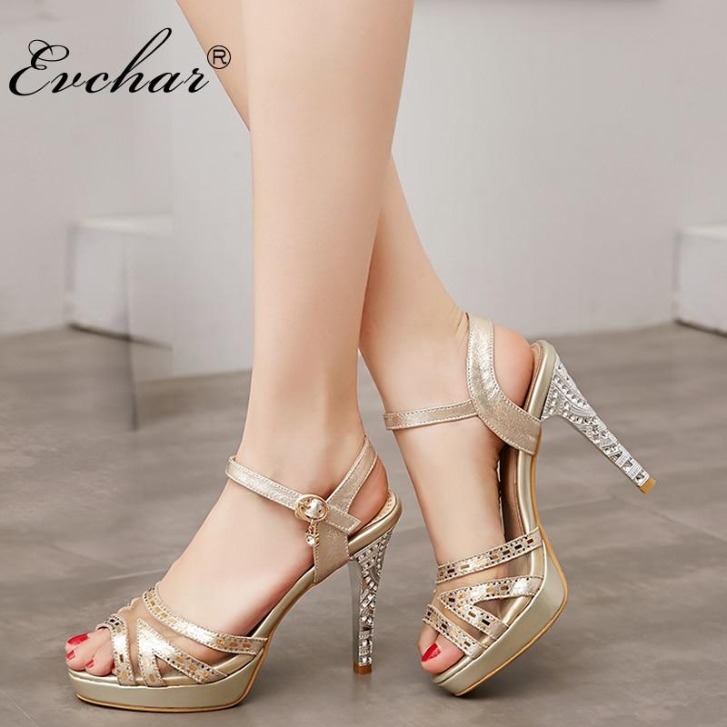 Nouvelle D été de mode cristal élégant sandales chaussures femmes plate-forme  à talons hauts Strass Poisson bouche sandales de femmes taille 33-43 80a80eb8ad17
