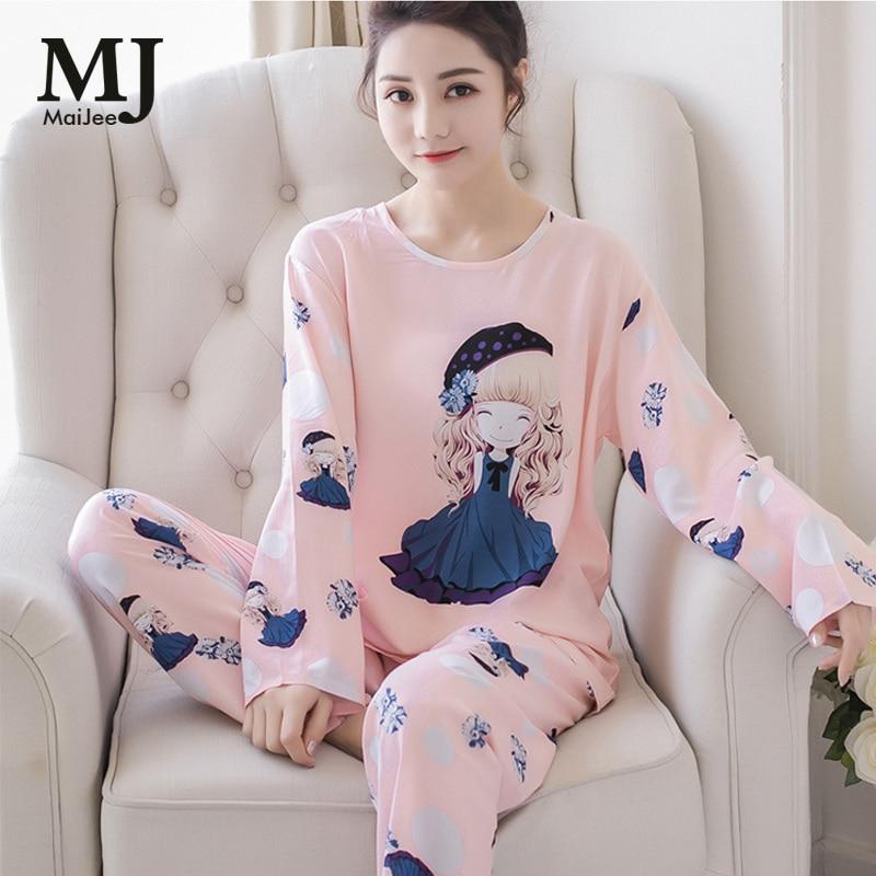 MaiJee Pink Pijama Feminino Cute Pyjamas Women Pijamas Mujer Pyjama Femme Pigiama Donna Set Pajamas Night Suit Sleepwear