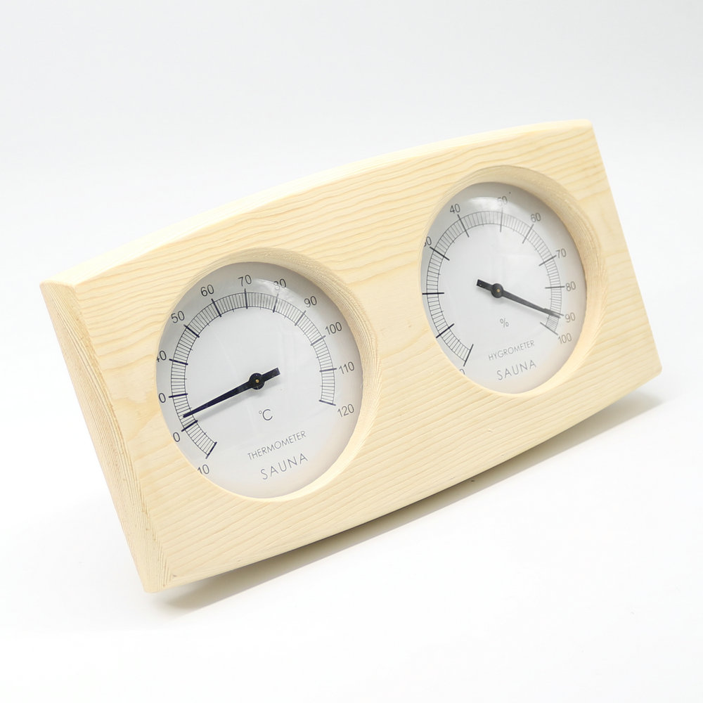 Double Sauna Accessory Wooden Hygrothermograph Thermometer Hygrometer Sauna Room