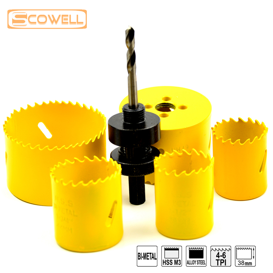цена на 6PCS Top quality holesaw kits for metal and wood cutter, 32mm-76mm HSS Bi-metal M3 Hole Saw In Bulk,Woodworking Holesaw kits