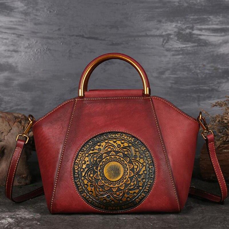 Norbinus Luxury Women Genuine Leather Handbags Ladies Retro Elegant Shoulder Messenger Bag Cow Leather Handmade Womans