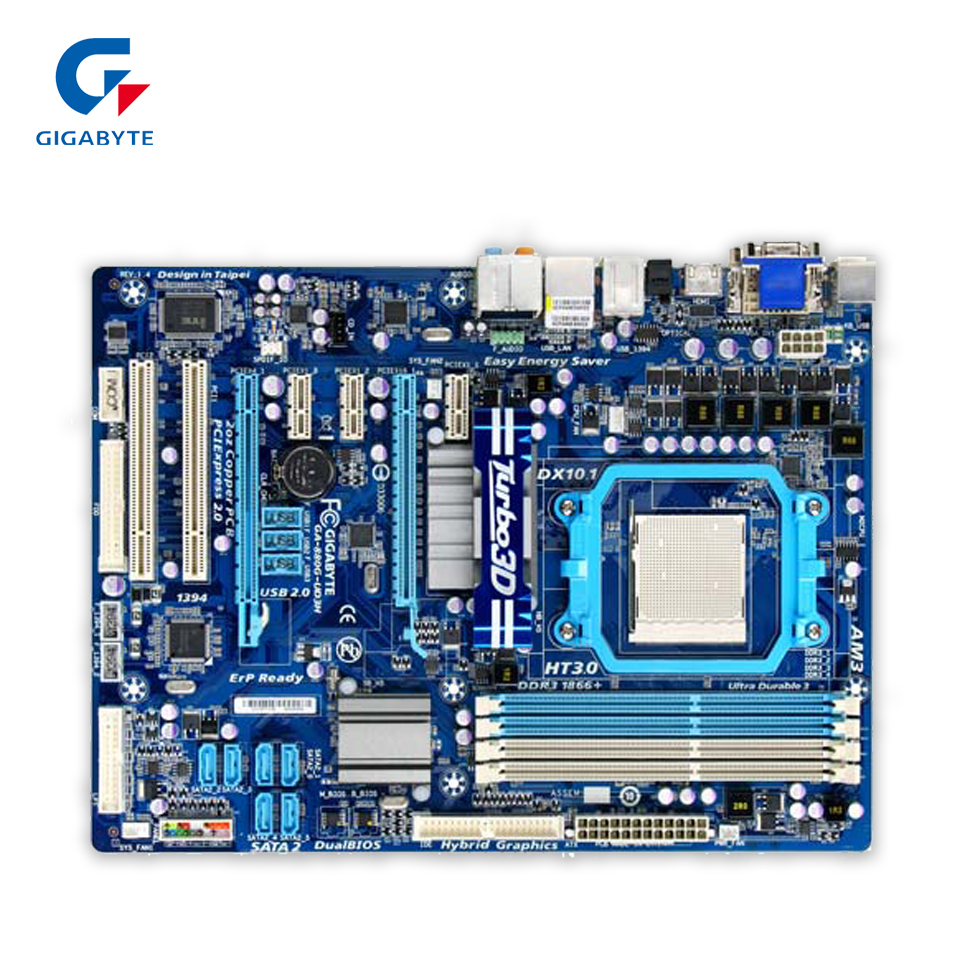 Gigabyte GA-880G-UD3H Original Used Desktop Motherboard AMD 880G Socket AM3  DDR3 SATA2 USB2.0 ATX