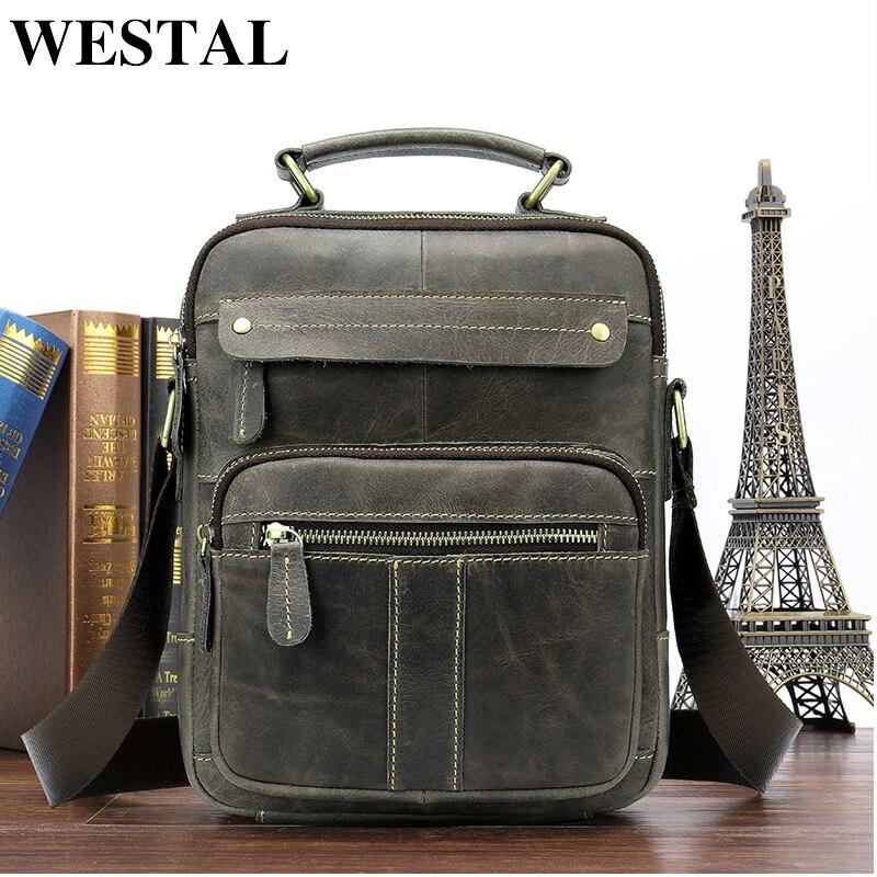 WESTAL Messenger Bag Men Shoulder bag Genuine Leather Small male man Crossbody bags for Messenger men