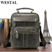 WESTAL حقيبة ساعي حقيبة الكتف للرجال جلد طبيعي صغيرة الذكور رجل Crossbody أكياس رسول الرجال حقائب جلدية حقائب 8550