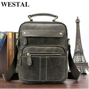 WESTAL Messenger Bag Men Shoulder bag Genuine Leather Small male man Crossbody bags for Messenger men Leather bags Handbags 8550 shoulder bag