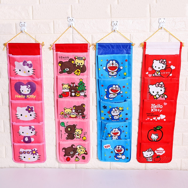 Cartoon Wall Hanging Storage Bag Fashion Toy Makeup Organizer 5 Pockets Hanging Storage Pouch Bags Case For Door Bathroom