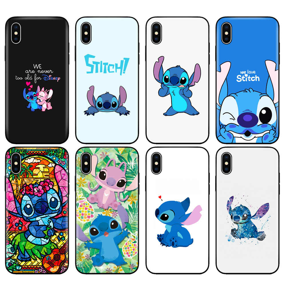 Black tpu case for iphone 5 5s se 6 6s 7 8 plus x 10 case silicone cover for iphone XR XS MAX case cute cartoon Lilo Stitch
