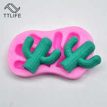 TTLIFE Double Hole Cactus Silicone Mold Plant Fondant Cake Pastry Decorating Tool Chocolate Cupcake Baking Mould Kitchen Gadget