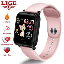 LIGE New Smart Watch Women Sport Pedometer Smart wristband Heart Rate Monitor Fitness Tracker LED Color Screen Ladies watch+Box(China)