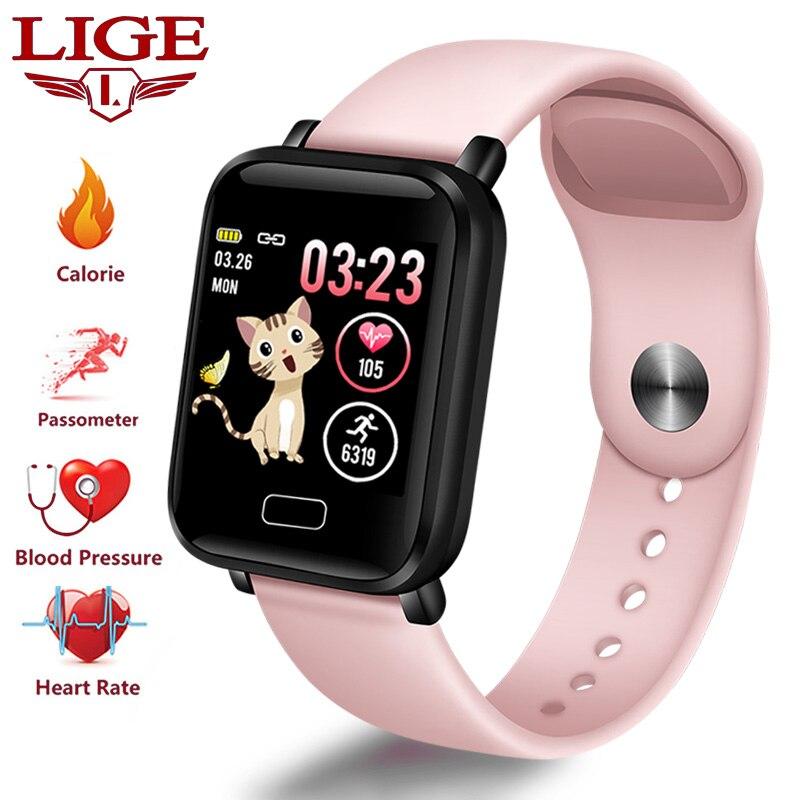 LIGE Novo Mulheres Relógio Do Esporte Pedômetro Inteligente pulseira Inteligente Heart Rate Monitor de Fitness Rastreador Ecrã LED de Cor Ladies watch + caixa