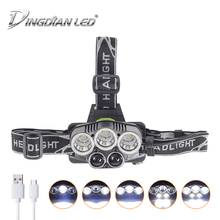 Waterproof Headlamp USB Rechargeable LED Headlight 25000lm Cree Flashlight 18650 Battery Camping Lantern Led Head Lamps