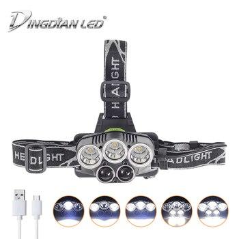 Waterproof Headlamp USB Rechargeable LED Headlight 25000lm Cree LED Flashlight 18650 Battery Camping Lantern Led Head Lamps