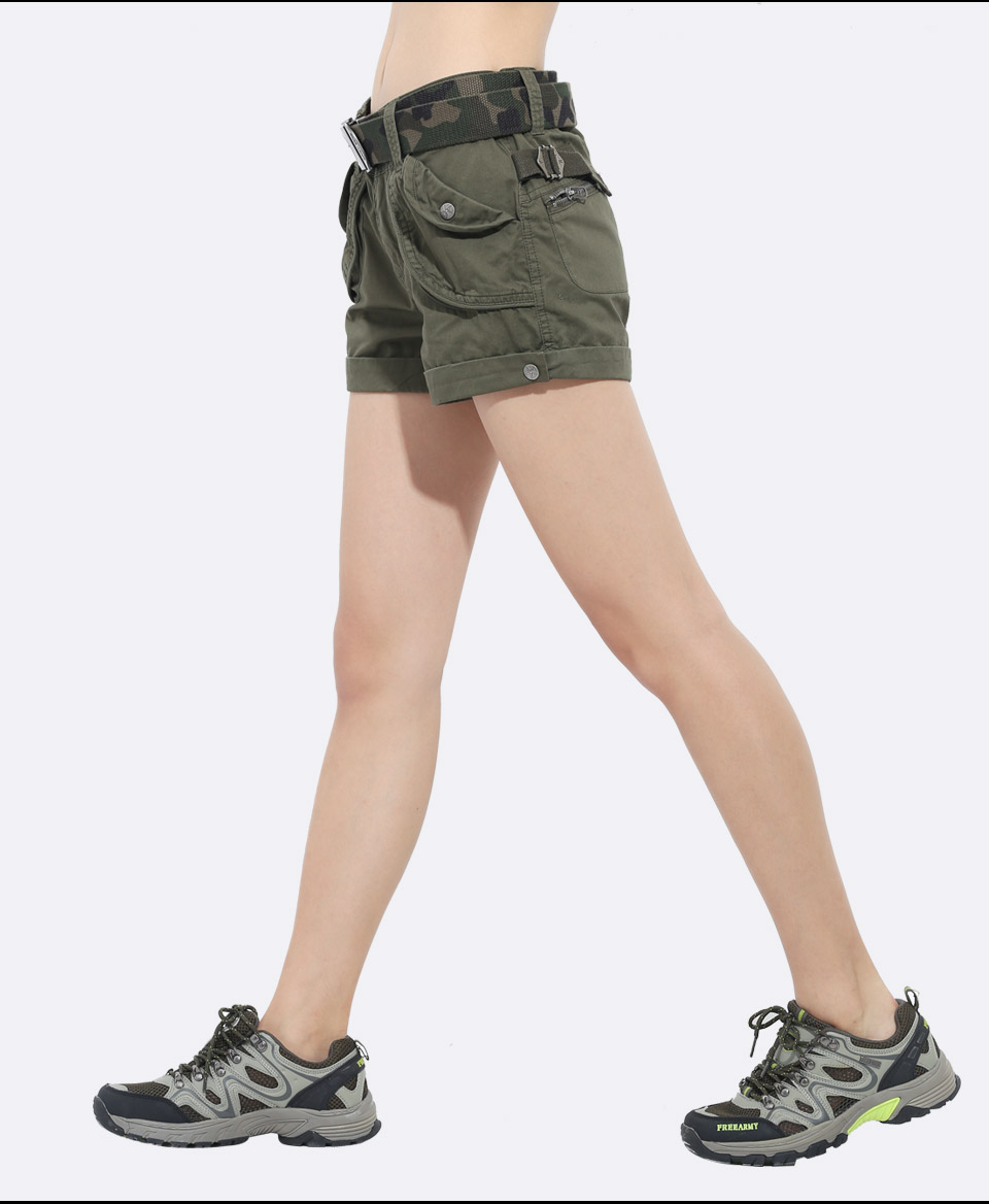Brand Laides Shorts Women Casual Shorts Loose Pockets Zipper Military Army Green Large Summer Ladies Shorts Outdoors Plus Size 12