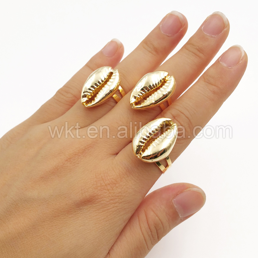 WT R134 Wholesale New 24K pure gold color cowrie shell rings natural real shell 24k gold