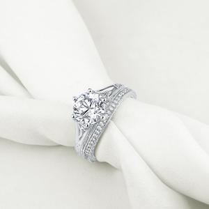 Image 3 - Newshe sólida plata 925 Vintage 2 Ct ronda AAA CZ anillo de compromiso nupcial conjunto de joyería clásica para las mujeres 1R0050