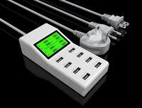 Guias de Parede Carregador Universal LCD LED 8 USB Carregador De Parede Telefone móvel Inteligente Carregador de Tomada Adaptador de Alimentação com EUA/UE plugue