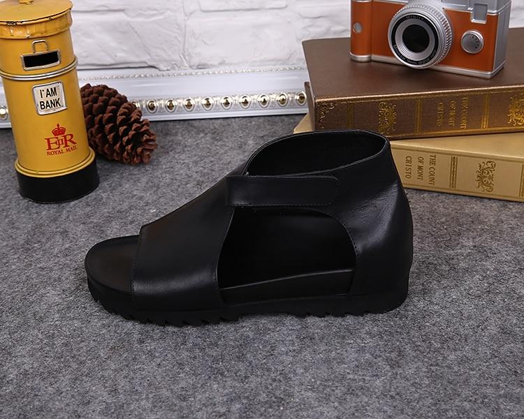 Genuine Leather Black Sandalias Hombre Sandals Men Cool Hollow Mens Summer Shoes Casual Beach Sandals calzado hombre Plus Size in Men 39 s Sandals from Shoes