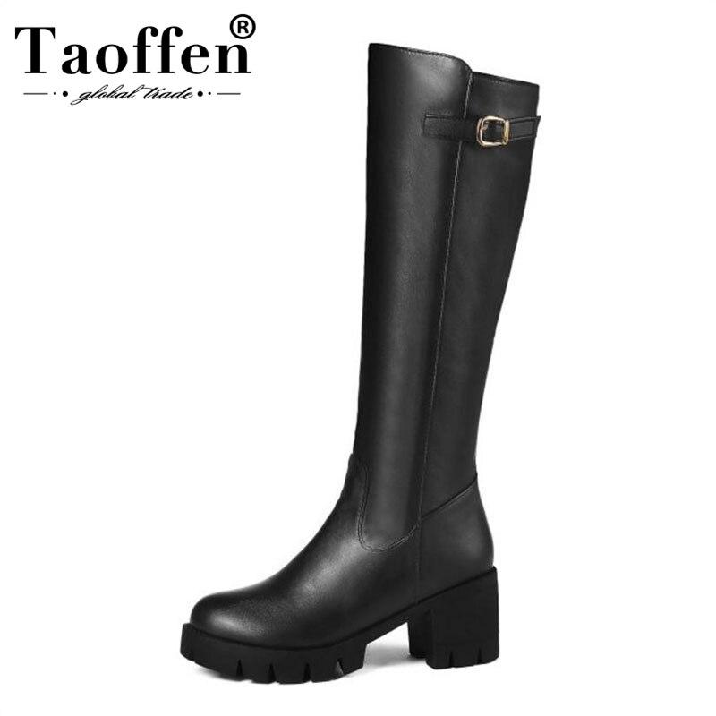 3260458f6766d Taoffen Plus tamaño 34 46 mujeres hasta la rodilla botas mantener caliente  de felpa zapatos de mujer zapatos de moda de invierno con cremallera  gruesas ...