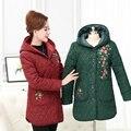 Вышивка с капюшоном шерсть лайнер толстые женщины зиму Парки Плюс размер 2017 сплошной цвет 4XL вскользь Уменьшают дамы вниз пальто куртки