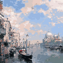 Abstract Boating Picture Painting By Numbers Modern Venice Wall Art DIY Hand Painted Canvas Coloring Home Decor 2017 Hot
