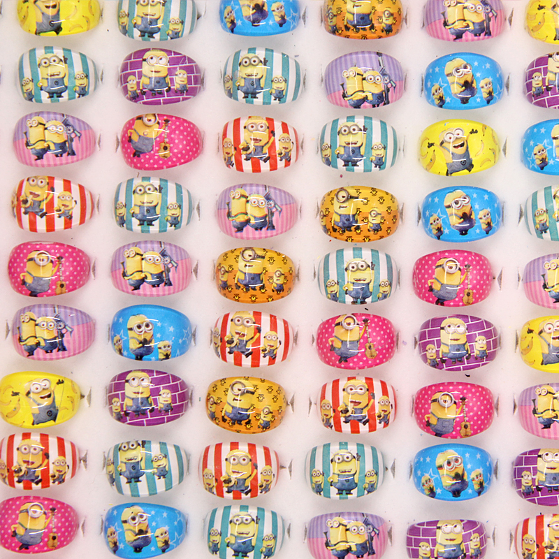 1 Pcs New Fashion Mix Lovely Resin Cartoon Girls Despicable Me Kevin/Stuart/Bob Children Kids Rings