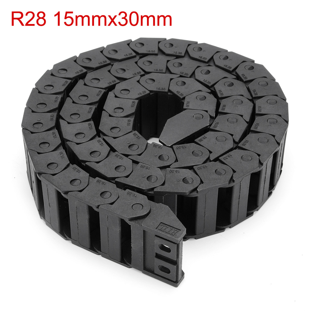 UXCELL R28 15mm x 30mm Black Plastic Cable Drag Chain Wire Carrier 1M Length for CNC 1pcs 15x30mm r28 cable drag chain wire carrier with end connector 15mm x 30mm l1000mm 40 for 3d cnc router machine brand new