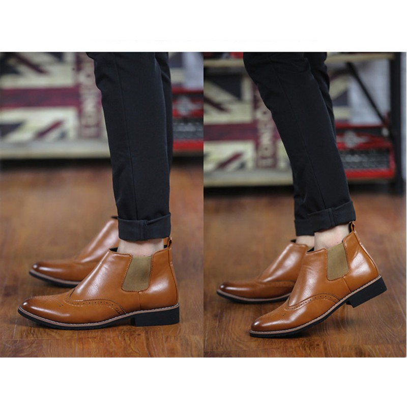 LOVE Spring Autumn Men\'s Chelsea Boots Casual Round Toe Brogue Leather Boots For Men Ankle Boots Square Heel Dress Shoes F107 (10)