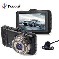 Podofo 3 inch Dual Lens Car DVRs Camera Full HD 1080P Car Video Registrator Dash Camcorder G sensor With Mini Rear View Camera