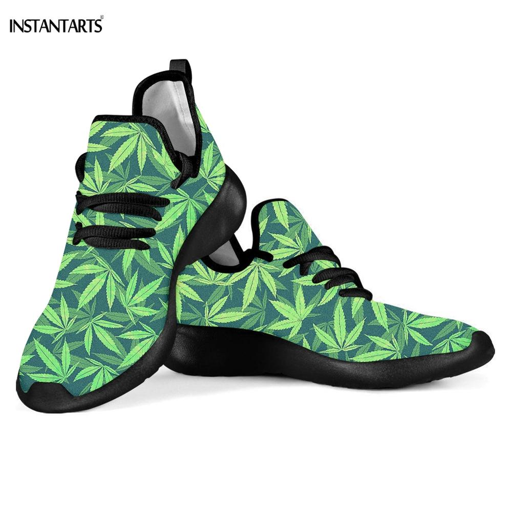 INSTANTARTS Green Hemp Leaf/Weed Leaves Print Women Men Outdoor Mesh Knit Sneaker Breath Running Shoes Light Flying Woven Shoes