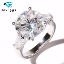 Luxury 5 Carat ct TRANSGEMS Brand EF Colorless Clear Lab Grown Moissanite Ring Genuine 14K 585 White Gold
