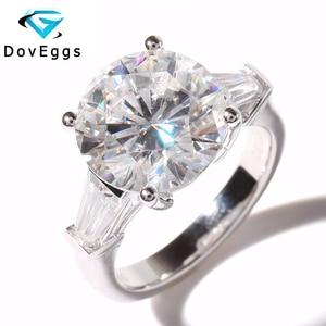 Genuine 14K 585 White Gold 5 Carat ct Diameter 11mm F Color Lab Grown Moissanite Diamond Engagement Wedding Ring For Women