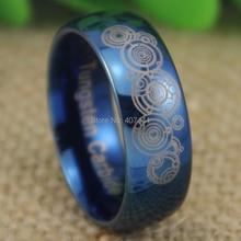 Envío gratis joyería de las ventas calientes 8mm doctor who time lord ygk azul brillante tungsten dome hombres de moda de la boda anillo